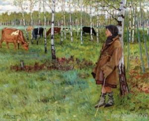 nikolai-bogdanov-belsky-1866-1945-daydreaming-among-the-birches-oil-on-canvas-50-2-x-61-cm